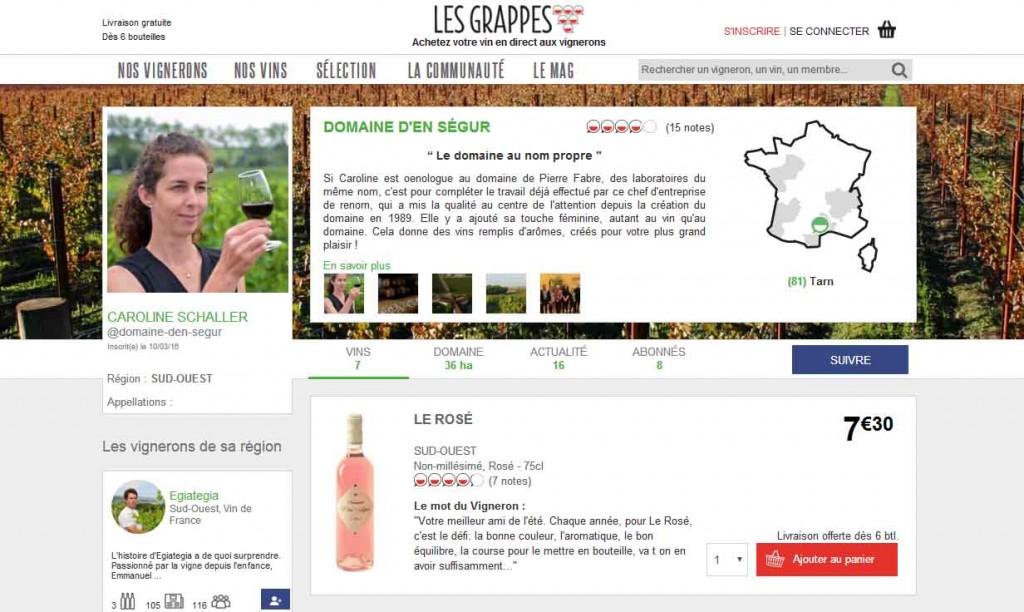 Les Grappes Domaine d'En Ségur Consommation collaborative Oenostory
